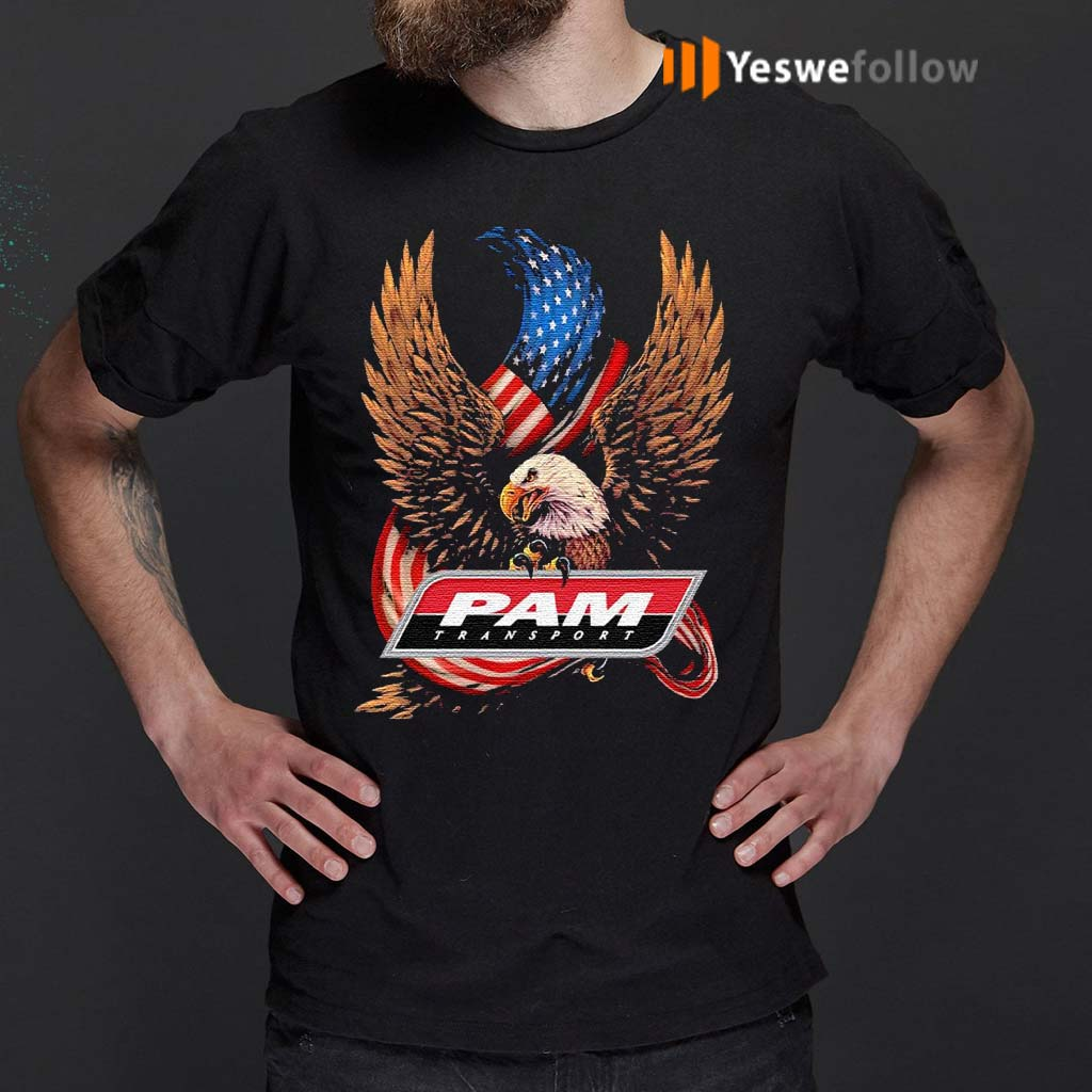 Pam-transport-eagle-American-flag-veteran-Independence-Day-shirts