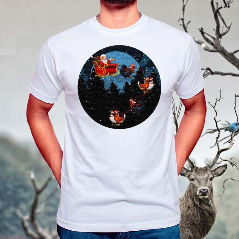 Santa-Claus-Riding-Chicken-Funny-Animal-Merry-Christmas-T-Shirt