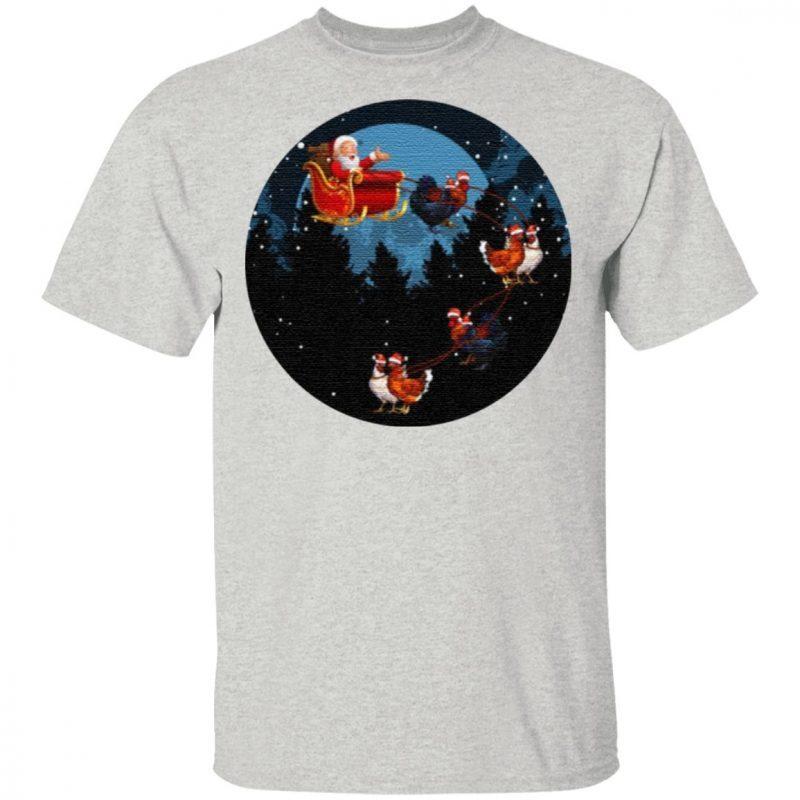 Santa Claus Riding Chicken Funny Animal Merry Christmas T-Shirt