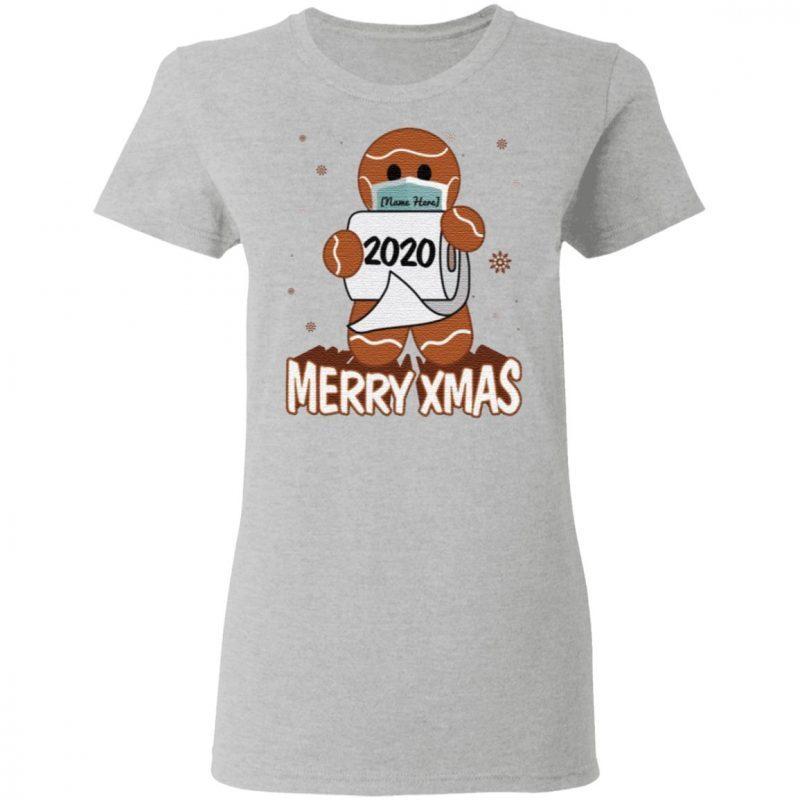 Personalized Gingerbread Man Wear Mask Funny Quarantine Christmas T-Shirt