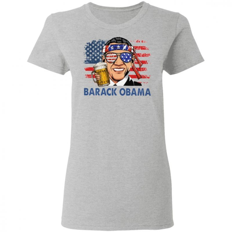 Barack Obama Hold Beer American Flag T Shirt