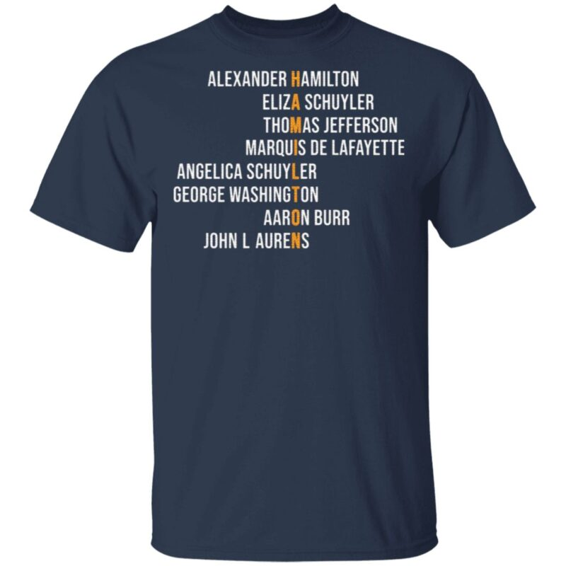 Hamil-ton Eliza Jefferson Angelica and Burr Names T-Shirt