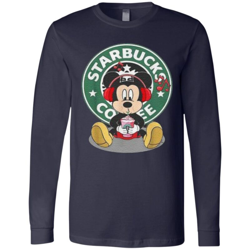 Mickey Mouse Drinking Starbucks Coffee And Listening Music T-Shirt