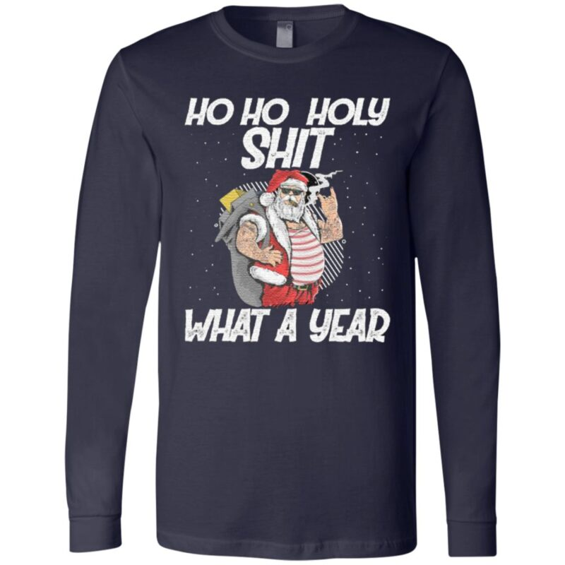 Ho Ho Holy Shit What A Year Tattoo Santa Claus With Glasses Christmas T Shirt