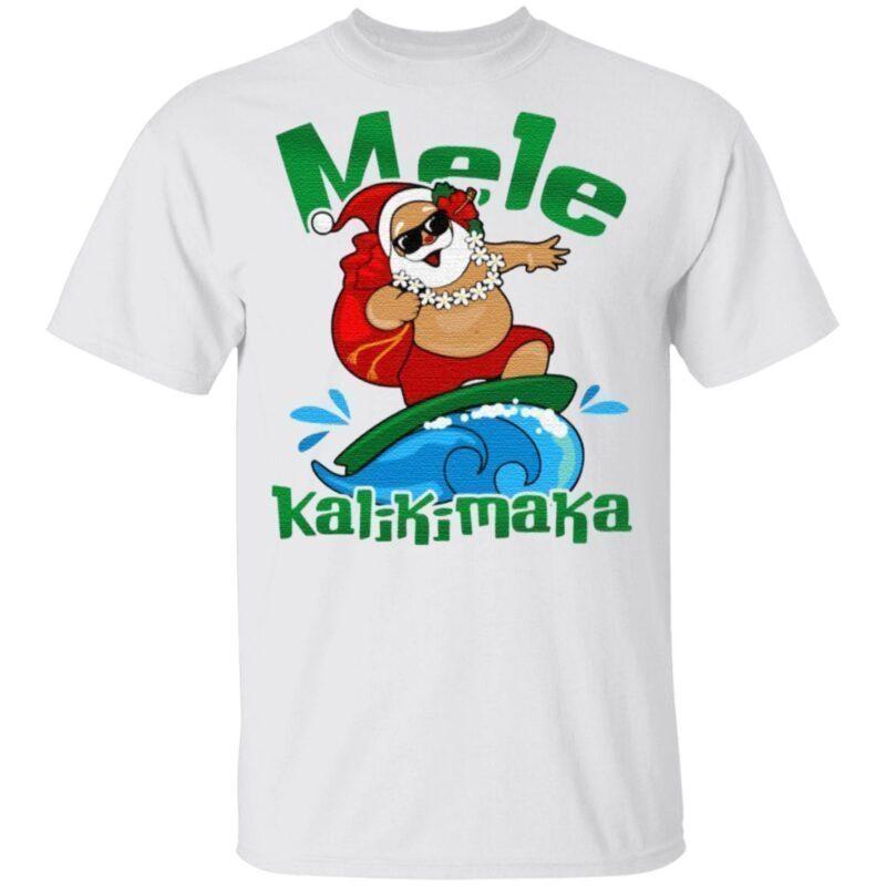 Mele Kalikimaka Hawaii Santa T-Shirt