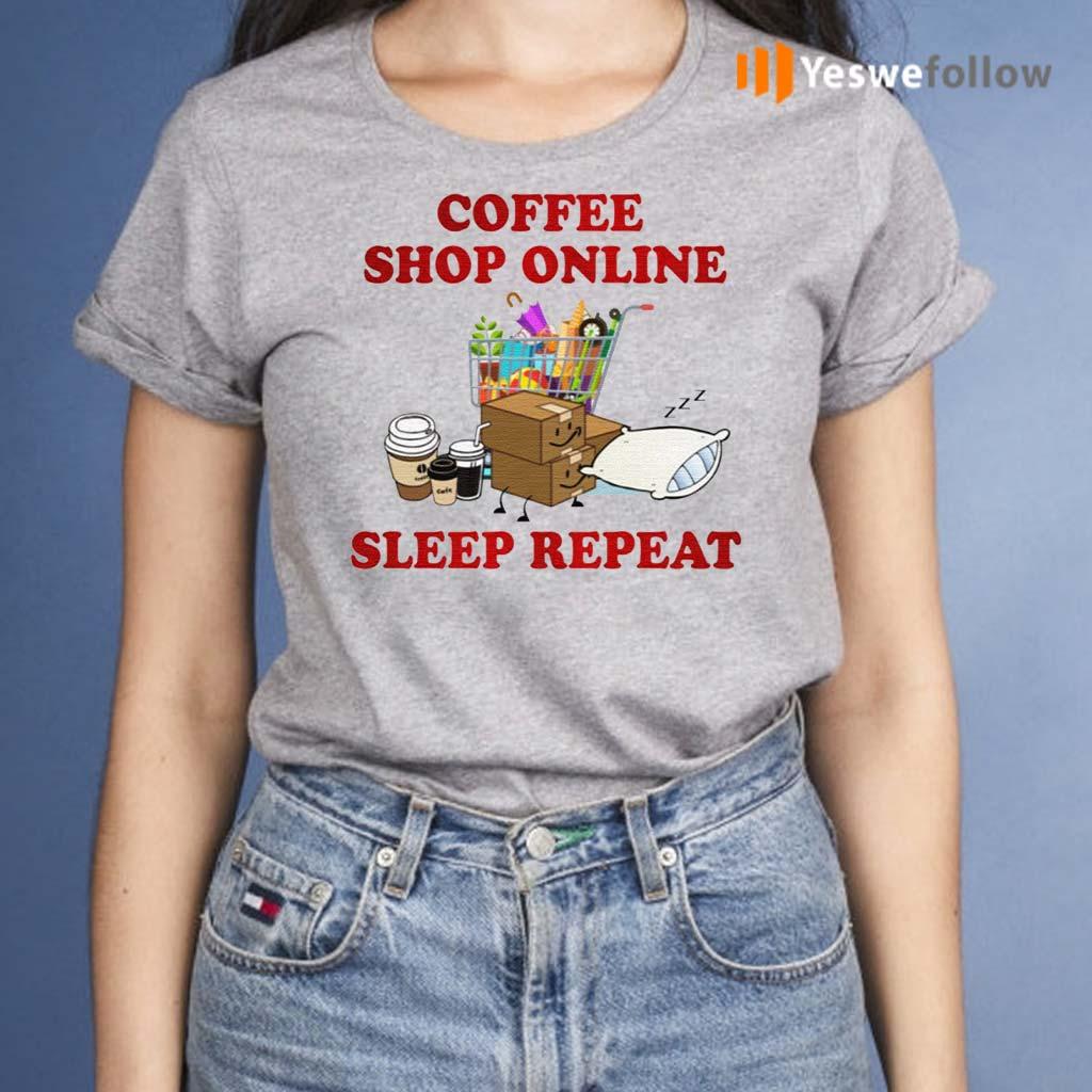 Coffee-Online-Shopping-Sleep-Repeat-TShirts