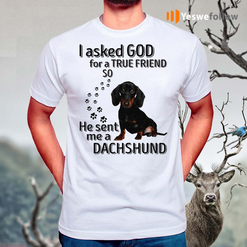 I-Asked-God-For-A-True-Friend-So-He-Sent-Me-A-Dachshund-Shirts