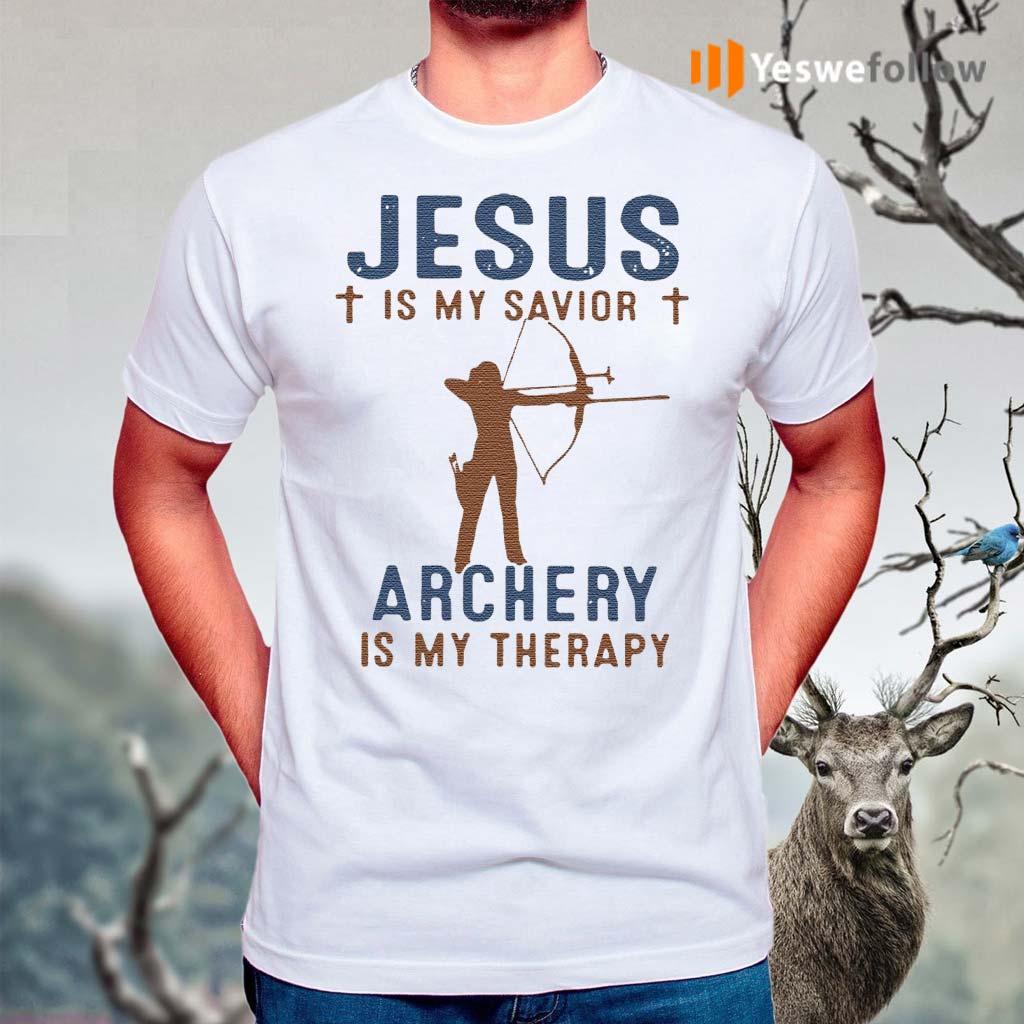 Jesus-Is-My-Savior-Archery-Is-My-Therapy-Shirts