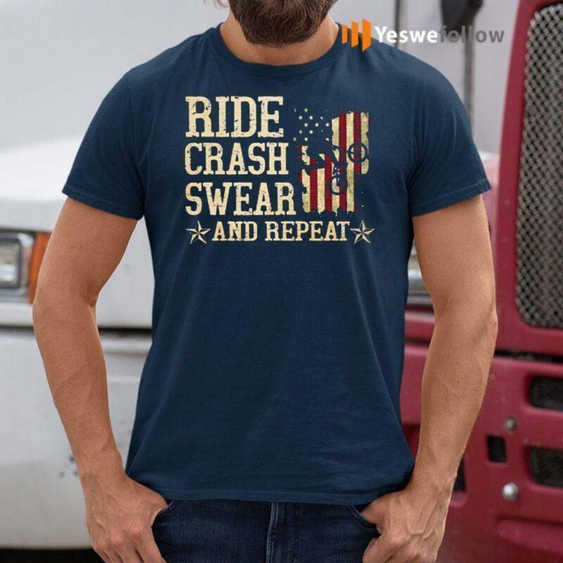 Ride-Crash-Swear-And-Repeat-American-Flag-Shirt