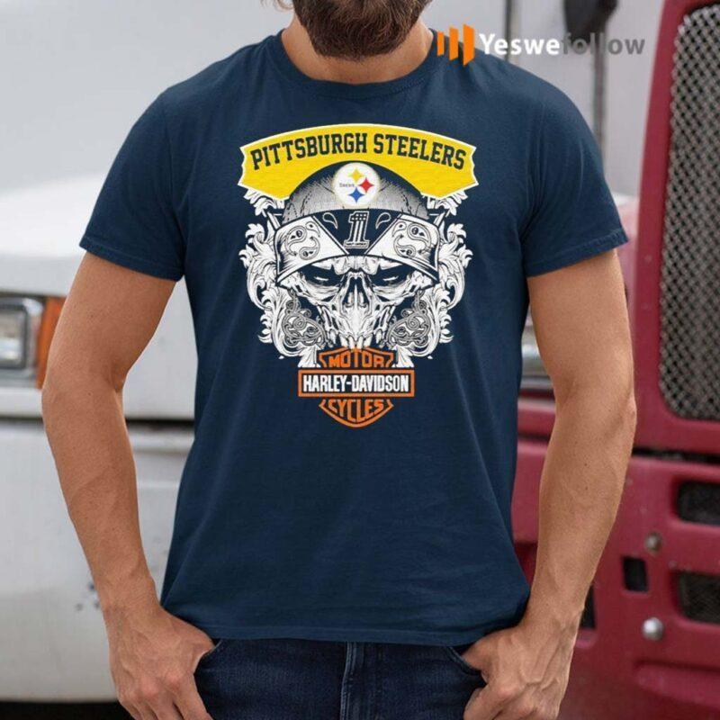 Skull-Motor-Harley-Davidson-Pittsburgh-Steelers-shirt
