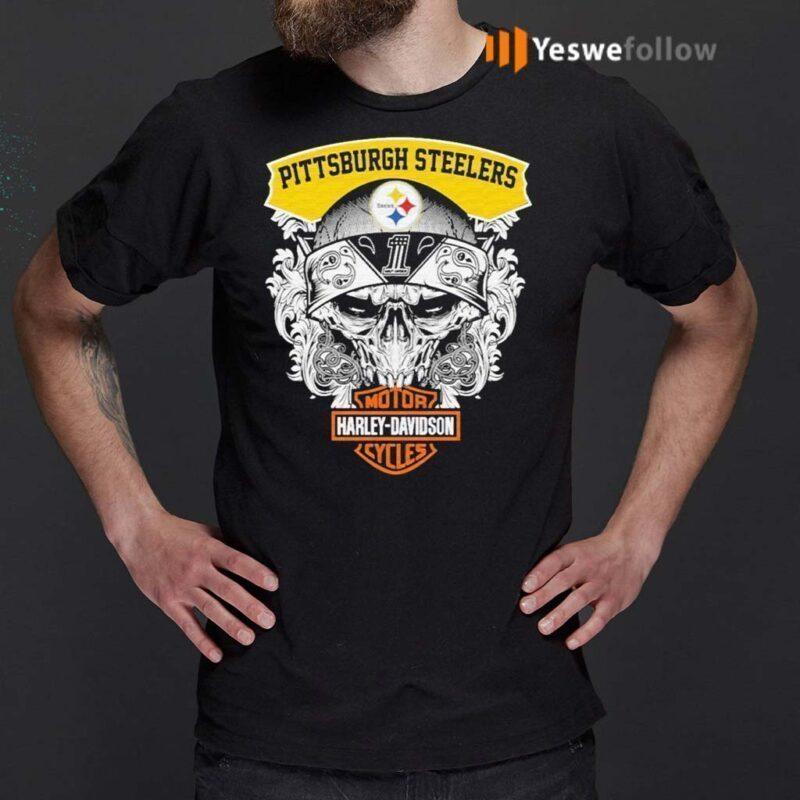 Skull-Motor-Harley-Davidson-Pittsburgh-Steelers-shirts