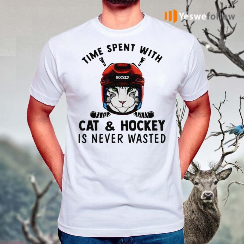 Time-spent-with-cat-and-hockey-is-never-wasted-shirts