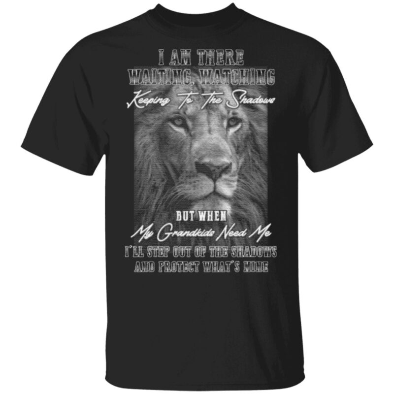 When My Grandkids Need Me I'll Step Out Of The Shadows And Protect What's Mine Print On Back Only T-Shirt