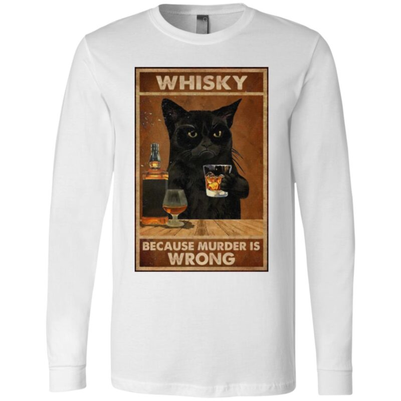 Whisky Because Murder Is Wrong Black Cat Vintage T Shirt