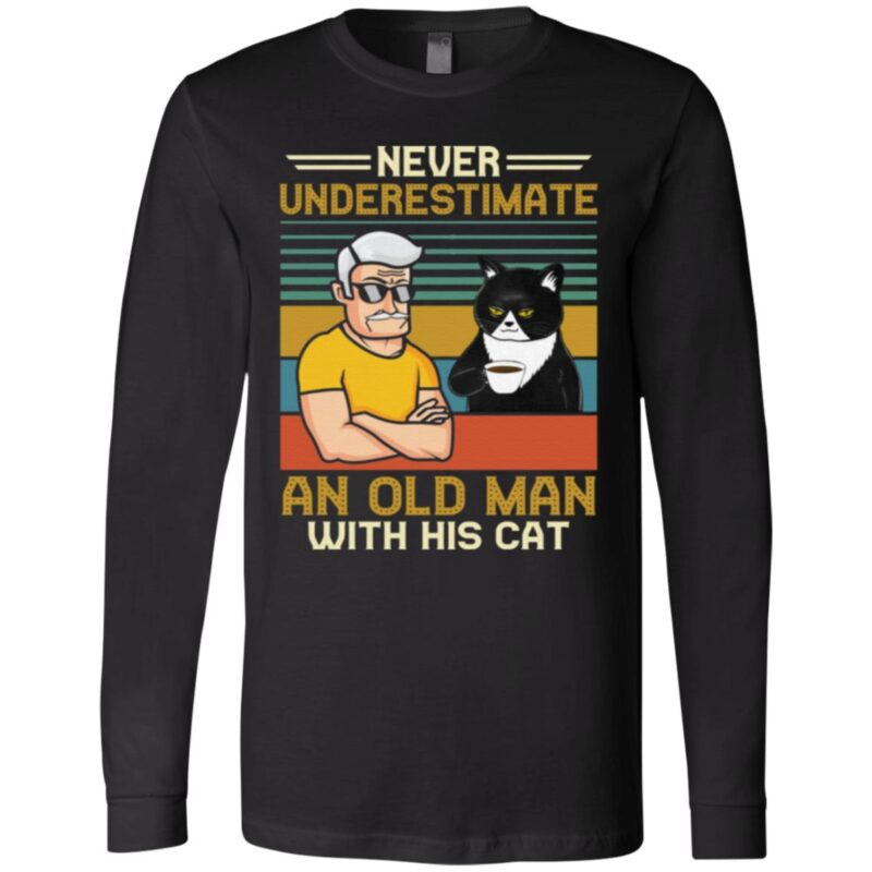 Never Underestimate And Old Man With His Black Cat Vintage T-Shirt