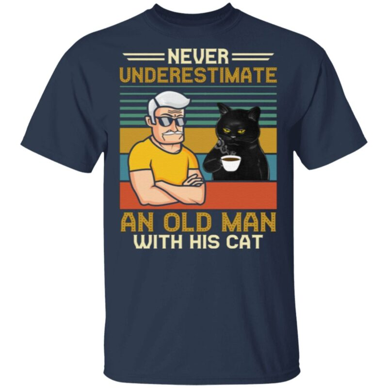 Never Underestimate And Old Man With His Tuxedo Cat Vintage T-Shirt