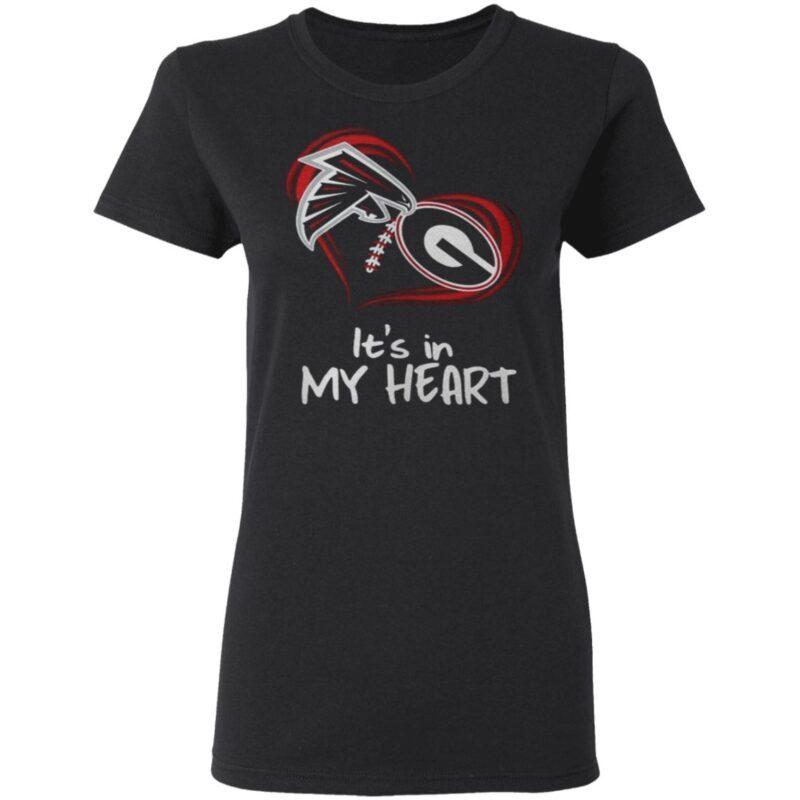 Atlanta Falcons And Georgia Bulldogs Football Its In My Heart Valentines Day t shirt