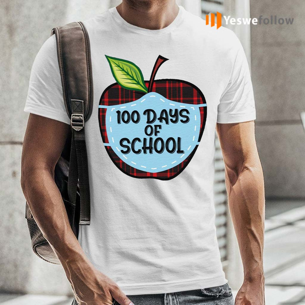 100-Days-of-School-Apple-Masked-Youth-Shirt