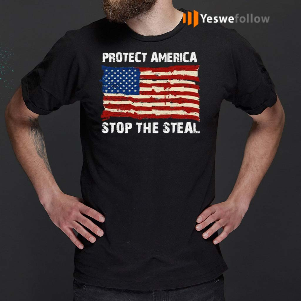 Protect-America-Stop-The-Steal-Voter-Fraud-Trump-2020-Us-Flag-Shirt