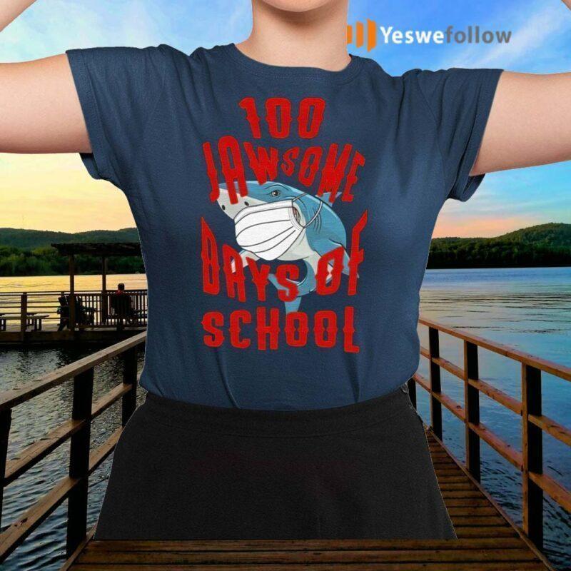 Shark-Wearing-Mask-100-Jawsome-Days-of-School-Youth-TShirt