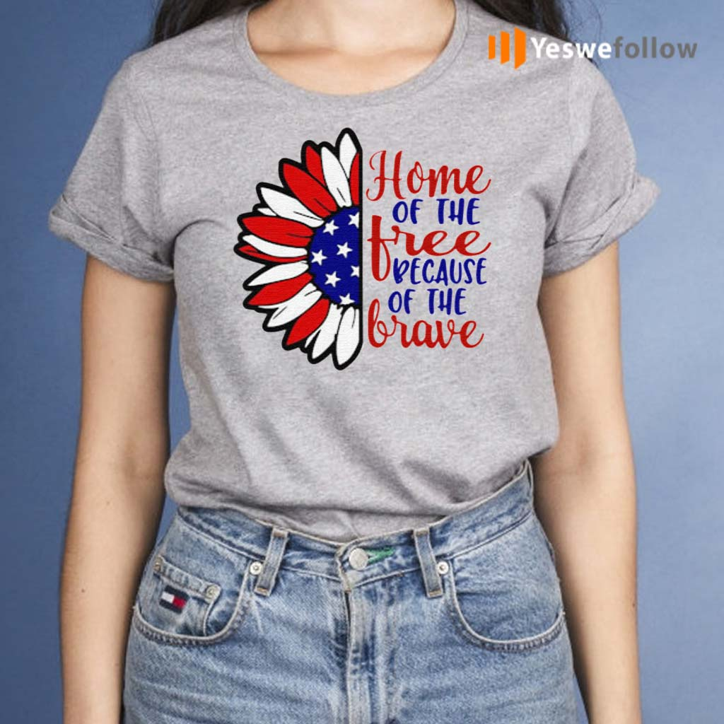Sunflower-America-home-of-the-free-because-of-the-brave-shirts
