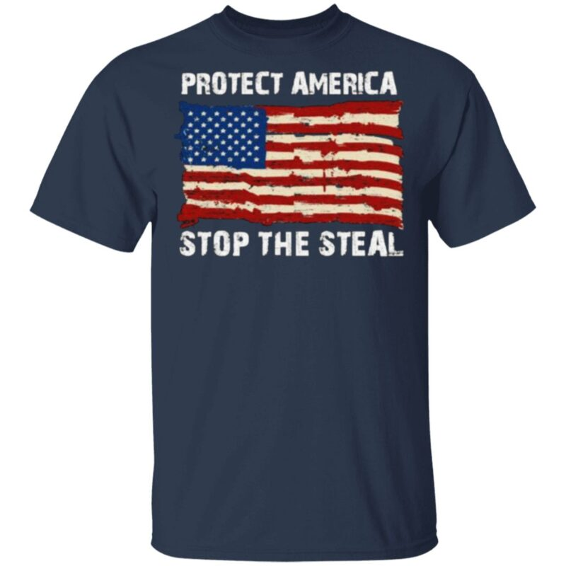 Protect America Stop The Steal Voter Fraud Trump 2020 Us Flag T Shirt