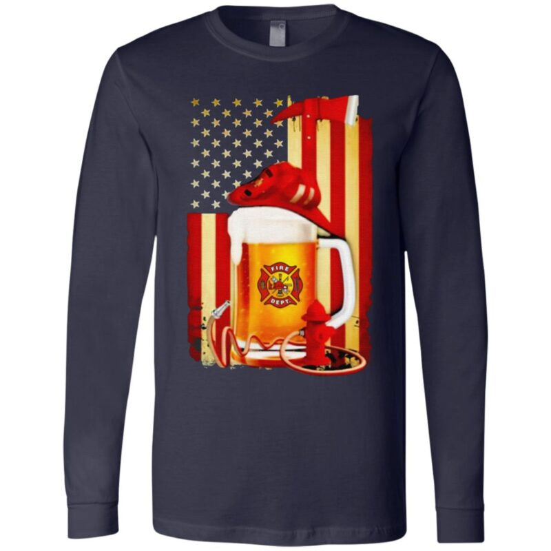 Beer Fire Dept American Flag T Shirt