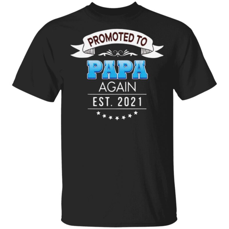 Promoted to papa again est 2021 t-shirt