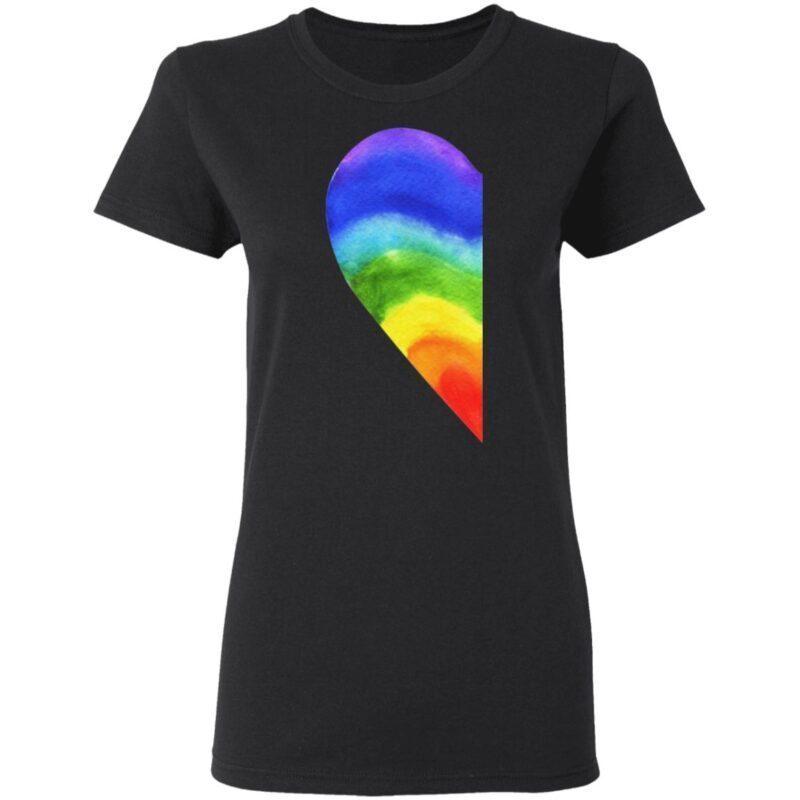 Rainbow Heart LGBT Pride Print on Back Funny T-Shirt