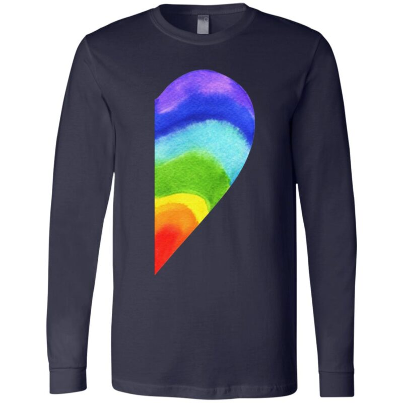 Rainbow Heart LGBT Pride Print on Back T-Shirt