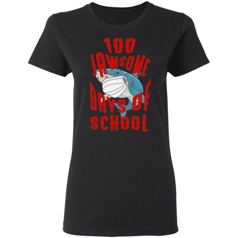 Shark Wearing Mask 100 Jawsome Days of School Youth T Shirt