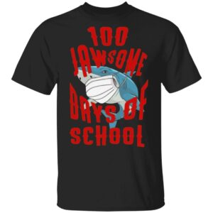 Shark Wearing Mask 100 Jawsome Days of School Youth T Shirt