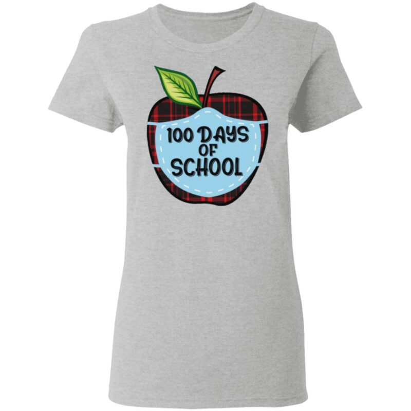 100 Days of School Apple Masked Youth T Shirt