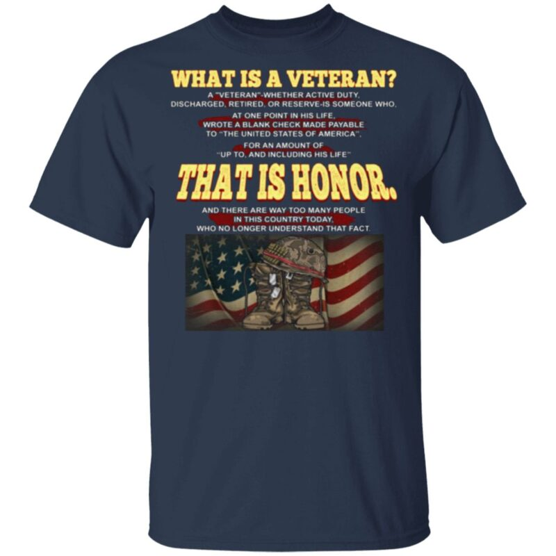 What Is A Veteran Print On Back Only T-Shirt