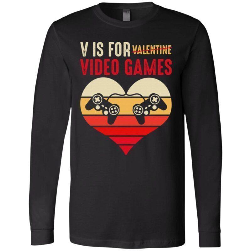 Vintage V Is for Video Games Gaming Valentines T Shirt