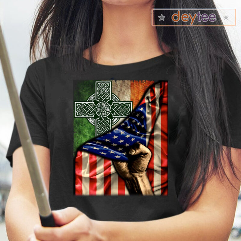 Celtic Cross Irish America Flag Print On Back T-Shirts