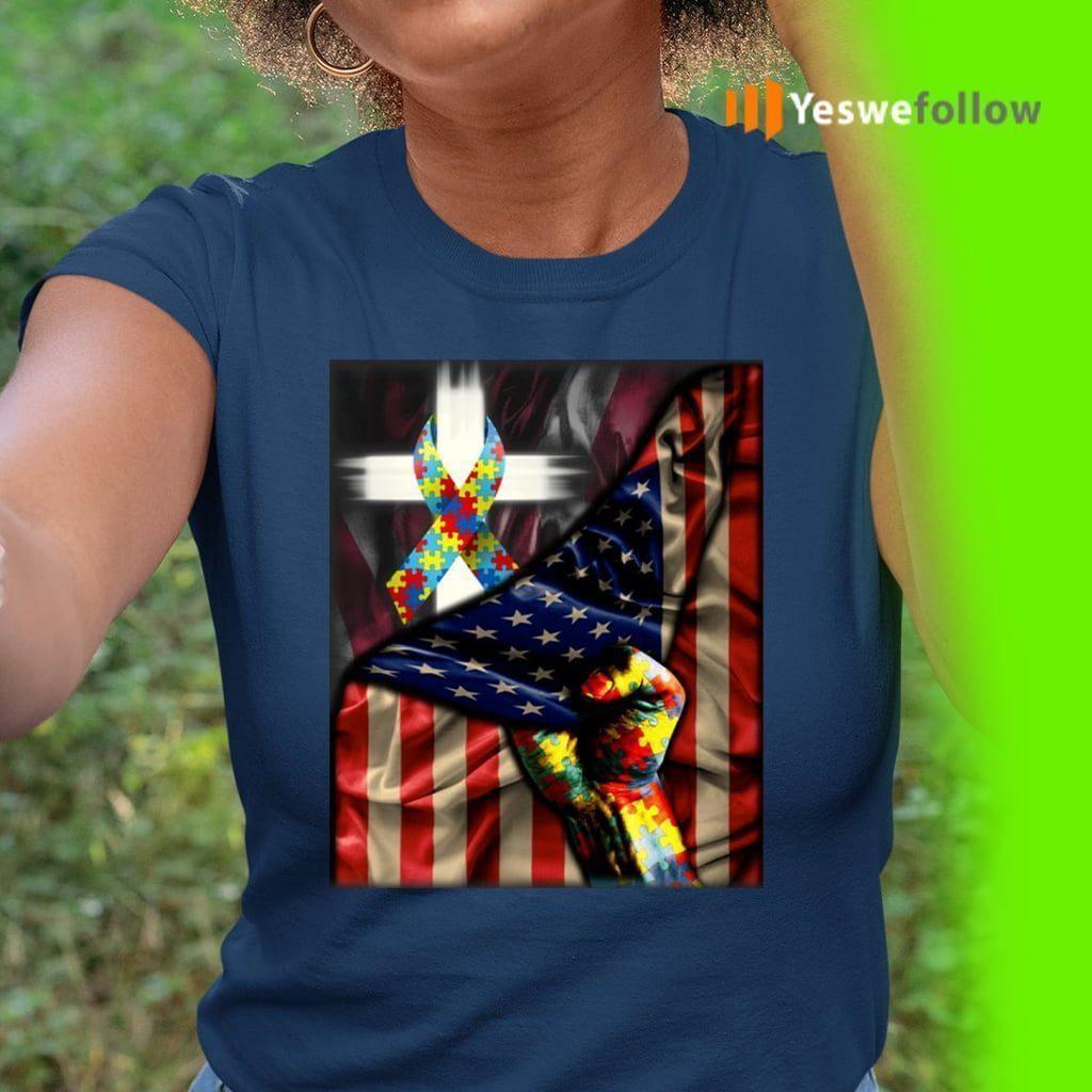 Distressed American Flag Autism Awareness T-Shirt