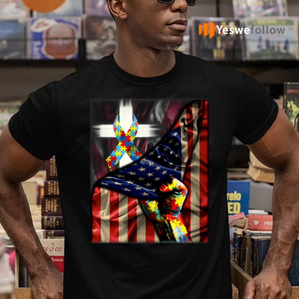 Distressed American Flag Autism Awareness T-Shirts