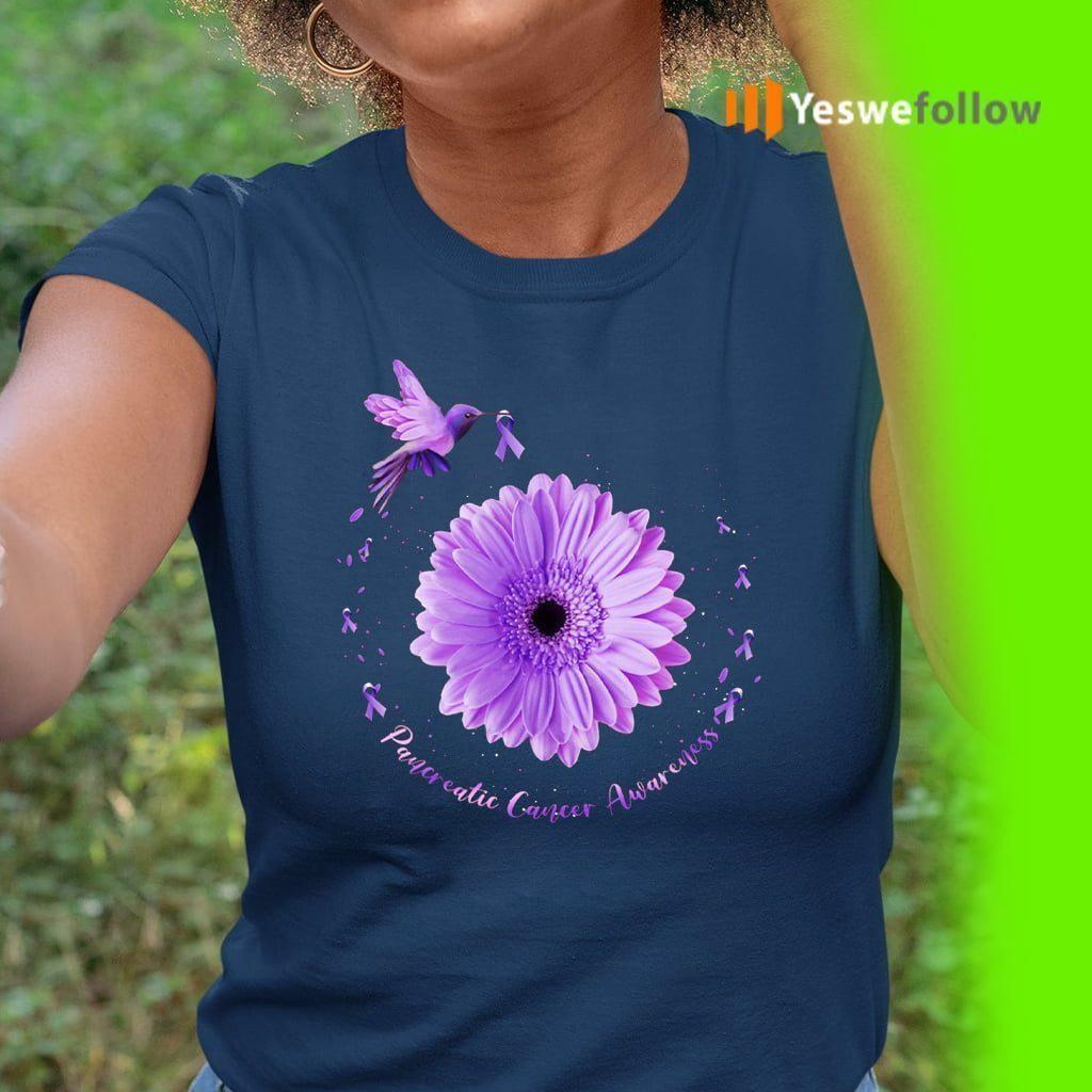 Hummingbird Purple Sunflower Pancreatic Cancer Awareness T-Shirt