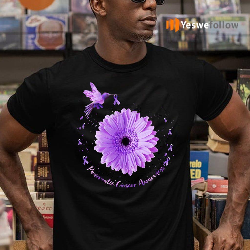 Hummingbird Purple Sunflower Pancreatic Cancer Awareness T-Shirts