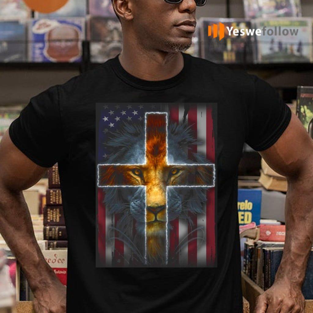 Jesus Is My God My King My Lord My Savior Lion Cross American Flag TeeShirt