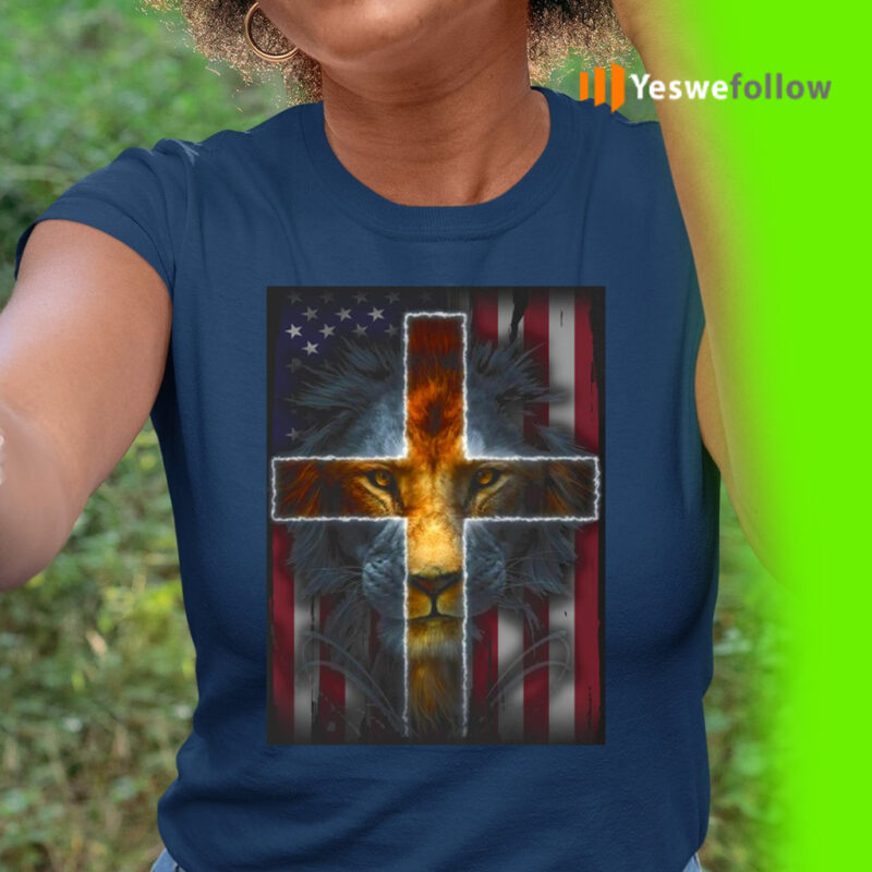 Jesus Is My God My King My Lord My Savior Lion Cross American Flag TeeShirts