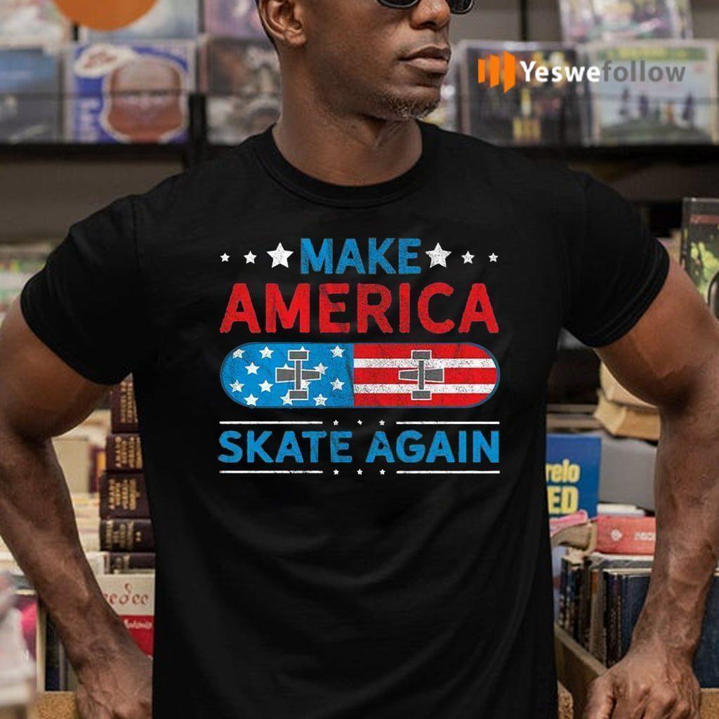 Make America Skate Again US Flag Retro Grunge T-Shirts