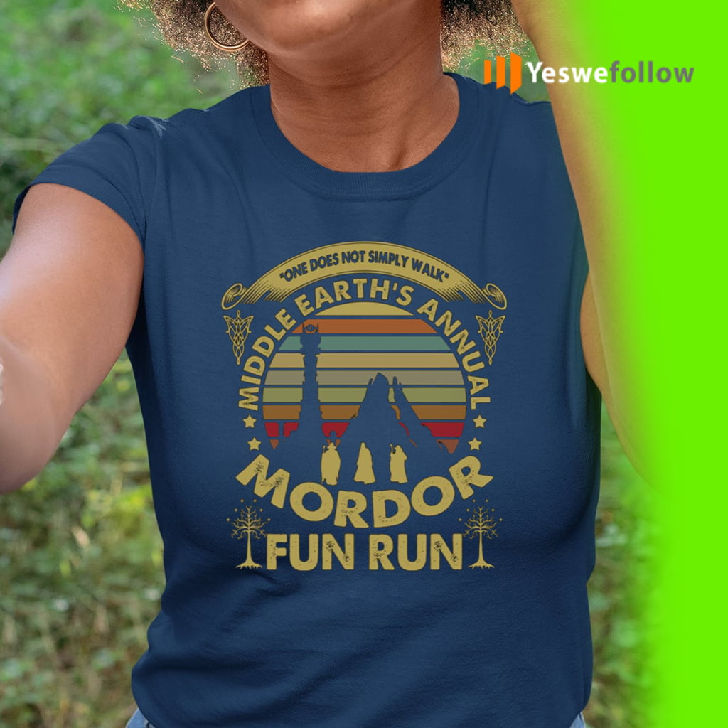 One Does Not Simply Walk Middle Earth's Annual Mordor Fun Run Sunset Vintage T-Shirt