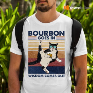 Tuxedo Cat Bourbon Goes in Wisdom Comes Out Vintage T-Shirts