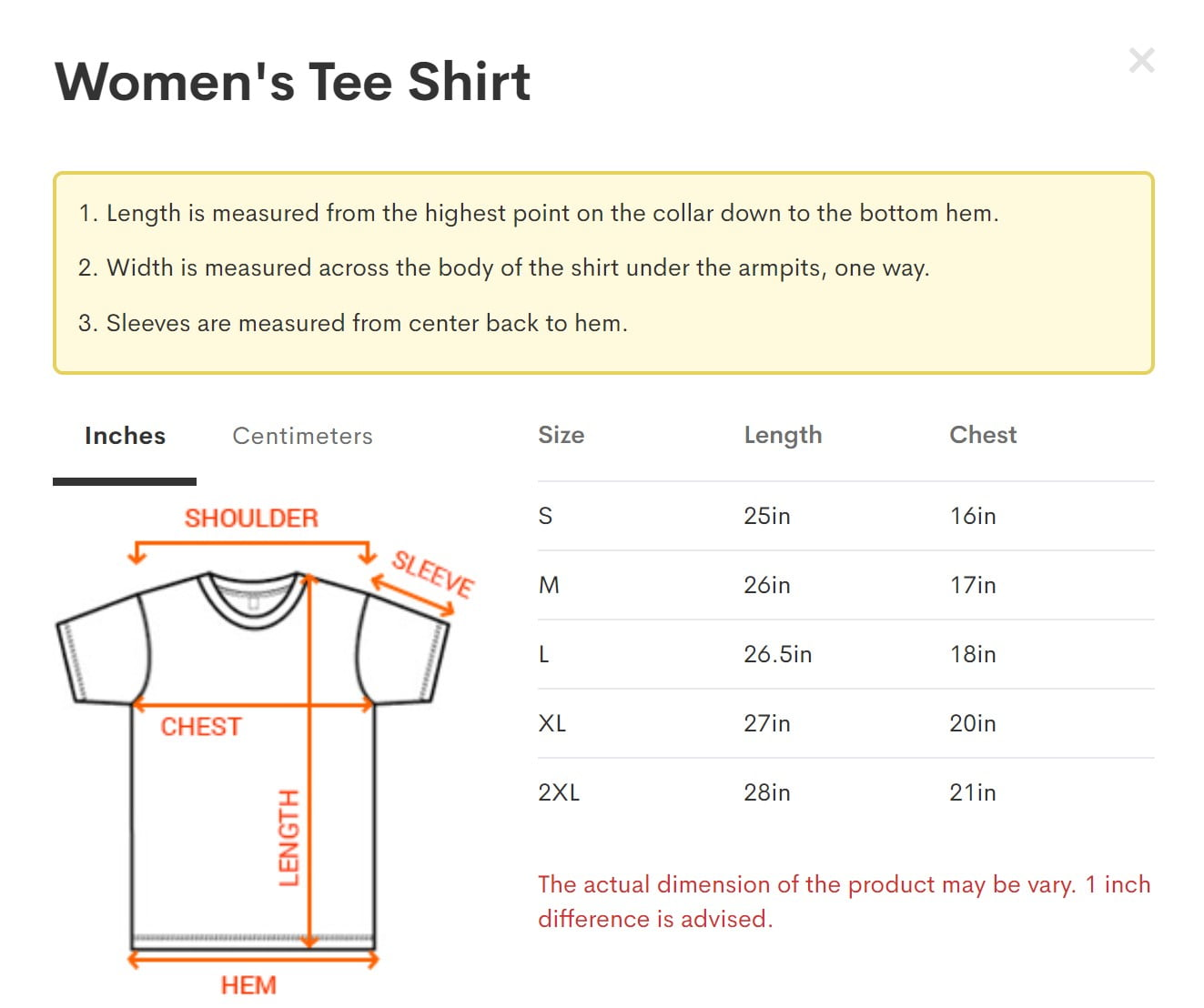 Women's Tee Shirt size