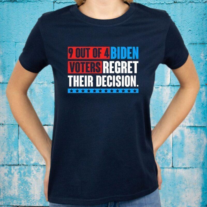 9 Out Of 4 Biden Voters Regret Their Decision Funny Anti Biden Pro Trump Shirt