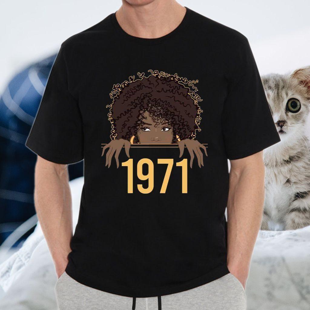 Black Queen Born Birthday 1971 T-Shirt