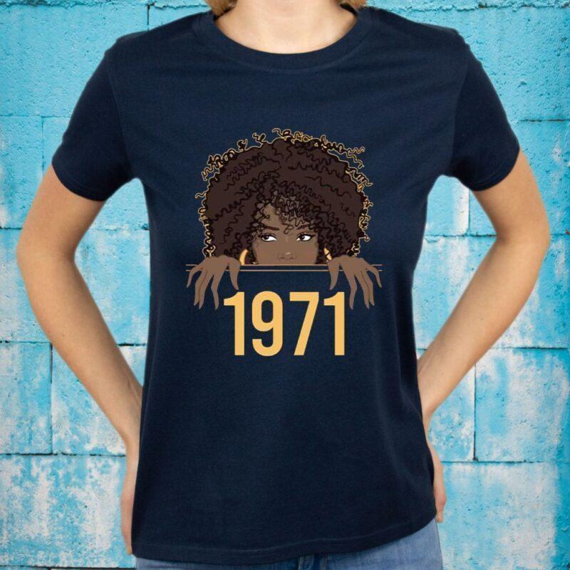 Black Queen Born Birthday 1971 T-Shirts