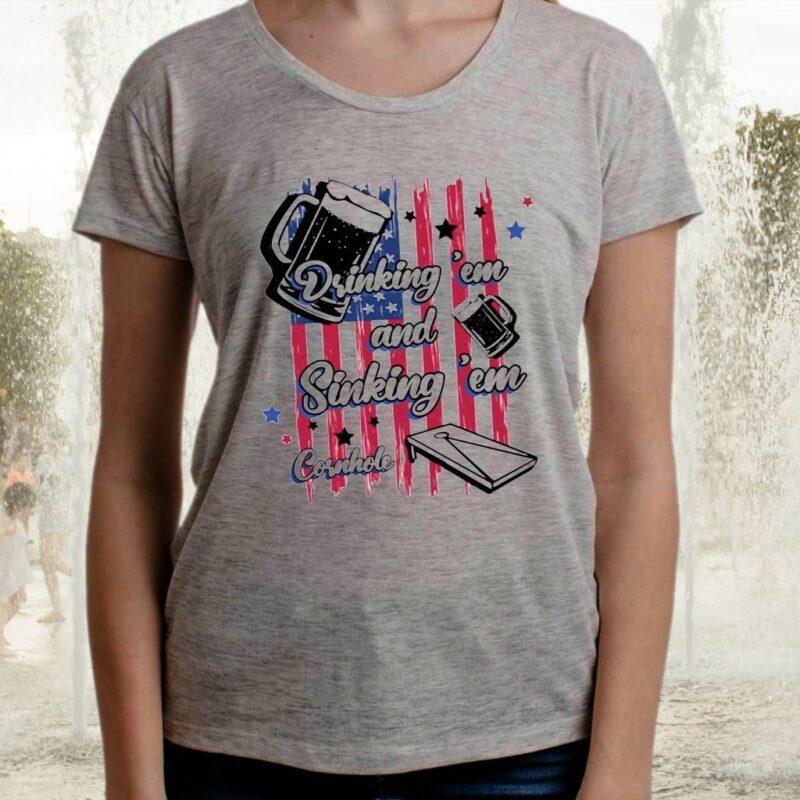 Drinking 'Em Sinking 'Em Cornhole Bright T-Shirts